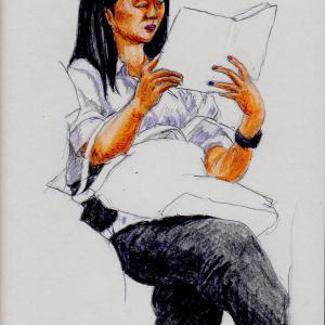 白いシャツに黒いパンツのお姉さん(上海の地下鉄でスケッチ)