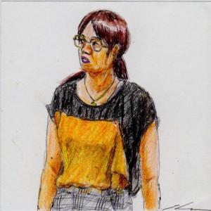 オレンジ色と黒のシャツのお姉さん(会社の会議室でスケッチ)