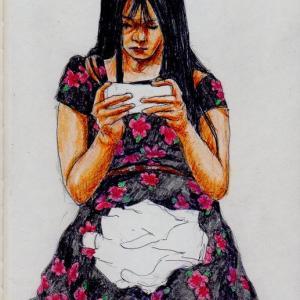 花柄のワンピースのお姉さん(上海の地下鉄でスケッチ)