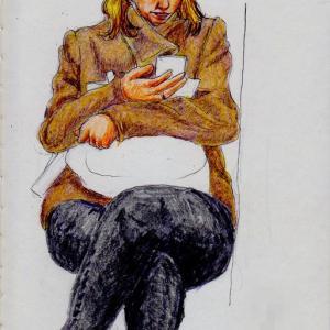 茶色いコートの西欧人のお姉さん(上海の地下鉄でスケッチ)