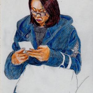 紺色のコートのお姉さん(上海の地下鉄でスケッチ)