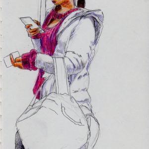 白いコートのお姉さん(上海の地下鉄でスケッチ)