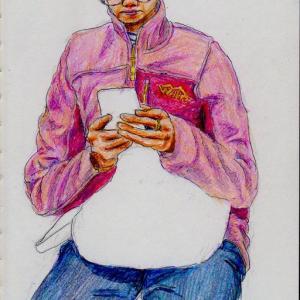ピンクのジャンパーのお姉さん(上海の地下鉄でスケッチ)