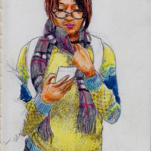 黄色いセーターのお姉さん(上海の地下鉄でスケッチ)
