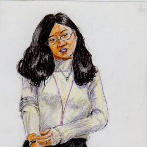 白いセーターのお姉さん(会議室でスケッチ)
