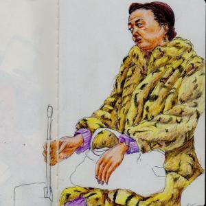 ヒョウ柄のフェイクファーのコートのお姉さん(関西の電車でスケッチ)