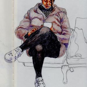 大阪市立美術館「揚州八怪展」に行って来ました&茶色のコートのお姉さん(関西空港でスケッチ)