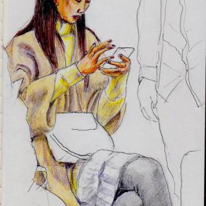 ベージュのコートのお姉さん(上海の地下鉄でスケッチ)