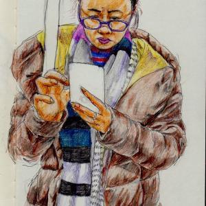 茶色のコートのお姉さん(上海の地下鉄でスケッチ)