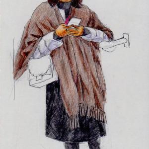 茶色のショールのお姉さん(上海の地下鉄でスケッチ)