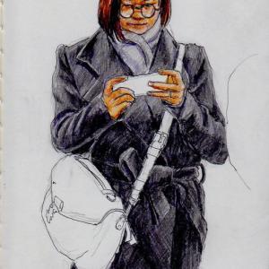 黒いコートのお姉さん(上海の地下鉄でスケッチ)