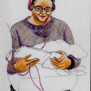 赤いヘッドフォンのお姉さん(上海の地下鉄でスケッチ)