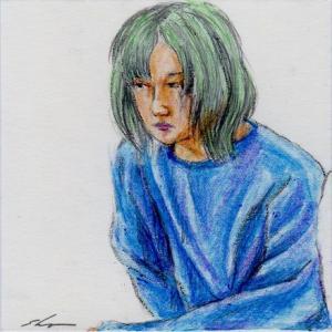 青いセータお姉さん(会社の会議室でスケッチ)