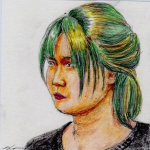 緑の髪のお姉さん(会社の会議室でスケッチ)