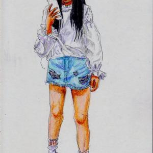 白いシャツにミニスカートのお姉さん(上海の地下鉄でスケッチ)