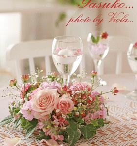 新年を祝うテーブルの花☆(レッスン作品)