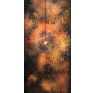 透明水彩画「線香花火(松葉)」を描きました