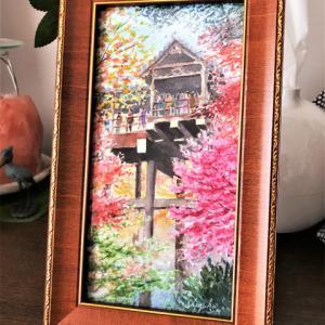 透明水彩画「高台より秋を望む」(京都 東福寺)ホルベインの「大きなポストカード」使いました♪