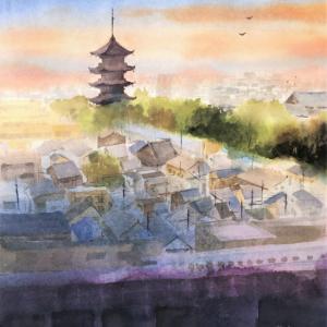 透明水彩画「家路」(京都 当時が見える風景)を描きました☆