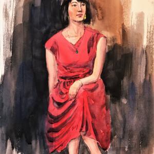 ラクルール人物デッサン会4回目「赤いドレスの女性」じゃなかったけど(;^_^A