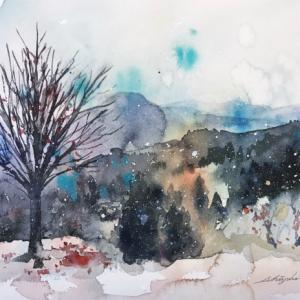 透明水彩画「初雪」&アートエッセイ「行ったこともない景色の写真から描く」