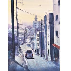 透明水彩画「初春の坂道」とアートエッセイ「絵画の構想とかけて登山ととく。その心は?」