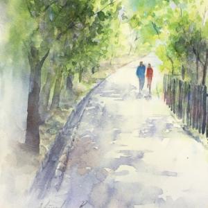 透明水彩画「散歩道」山田池公園&「モチベーション」の無いときは・・・