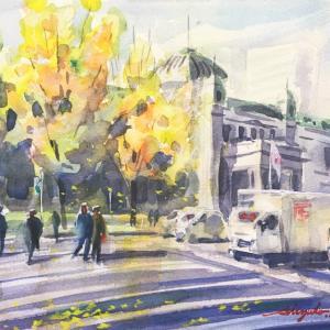 透明水彩画「晩秋の御堂筋」&アートエッセイ「初心者の頃振り返り」
