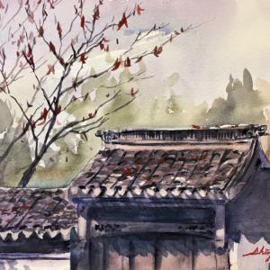 鶴見緑地スケッチ【中国館跡にて晩秋を描く】