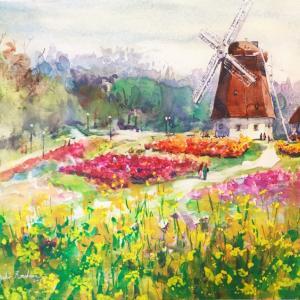 春爛漫 鶴見緑地スケッチ「風車の丘・春」