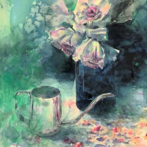 透明水彩画「午後の憂鬱」~細目の水彩紙に水たっぷりで描いてみた~