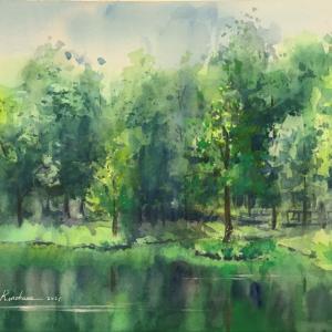 透明水彩スケッチ「新緑の水辺Ⅱ」~落ちた筆、無事回収できました~