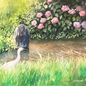 透明水彩画「六月の水辺」マスキングを使って描く