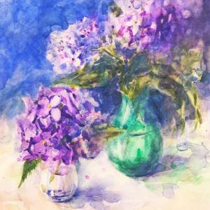透明水彩画「紫陽花」~細目のツルツル紙に水たっぷりチャレンジ~