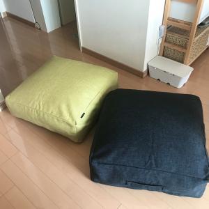 リビングクッションになる掛け布団収納ケース。
