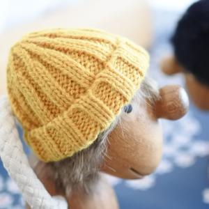 セリアで購入したミニフィギュア用のニット帽がピッタリ!