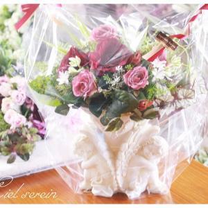 天使の花器にアレンジ ★お客様へのプレゼント★