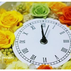 「花時計」プレ花嫁さん~♪ ビタミンカラーのプリザーブドフラワーで