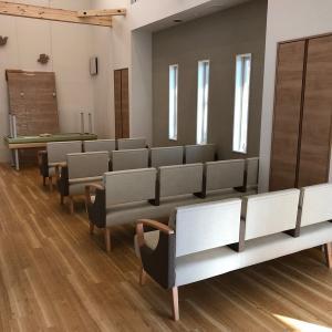 音楽ホールにもなる待合室が、完成間近。