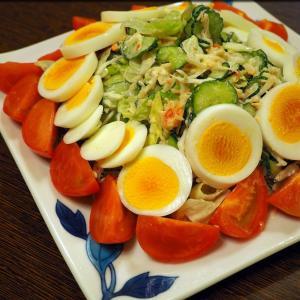 蟹サラダとシーフードカレー