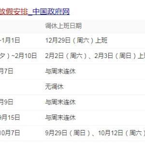 2019年の中国法定休日が中国国務院から正式に発表