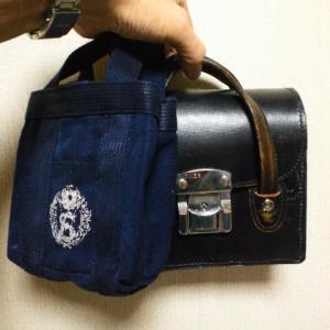 本革製学生鞄と手提げかばんのミニ