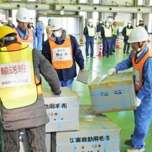 県・浜松市・湖西市による緊急物資輸送訓練に参加しました。