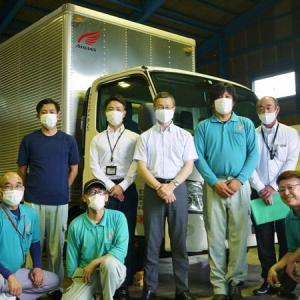 藤枝営業所 納車式! 今回導入するのは、家電宅配用2トンパワーゲート付きトラックです。