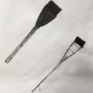 鉛筆と筆ペンで仕上げた刷毛