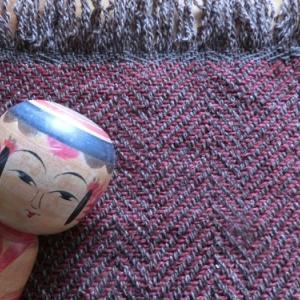 マフラーのたて糸でポットマット試し織り