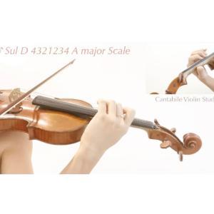 ヴァイオリン Sul D 4321234 A major Scale