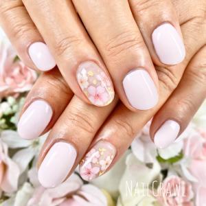 白ピンクに桜のアート