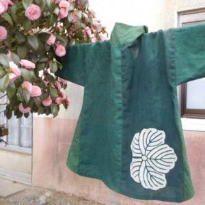 緑木綿のブラウス