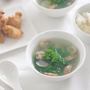 菜の花とあさりの中華スープ